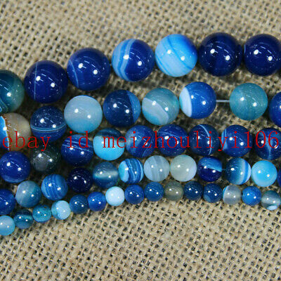 Natural Blue Striped Agate Round Gemstone Loose Spacer Bead 4/6/8/10/12/14mm AAA