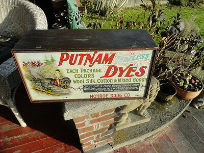 Putnum Dyes Tin Litho Sign and Wood Store Display Cabinet