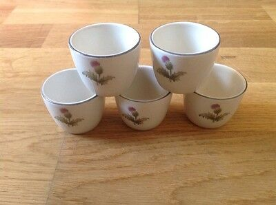 Maddock Royal Vitreous England 5 Egg Cups Thistle Pattern 1960s.