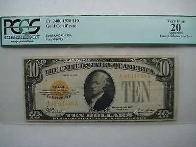 1928 $10 GOLD Certificate PCGS Very Fine 20 apparent