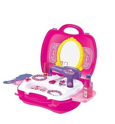 Girls Princess Salon Vanity Beauty Case Gift Vanity Perfume Makeup Mirror Stand