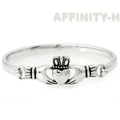 Summer Sale Beautiful Claddagh Bangle Bracelet .925 Solid Sterling Silver New