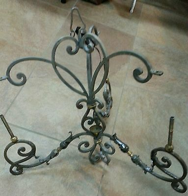 Vintage Wrought Iron Metal And Brass Chandelier
