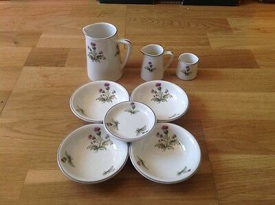 Maddock Royal Vitreous England 3Various Milk Jugs 3 Small Dishes Thistle Pattern