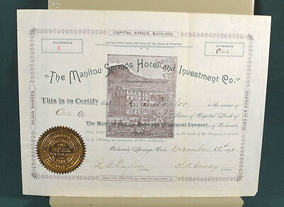 Manitou Springs Colorado Hotel and Investment Company Stock Certificate 1890