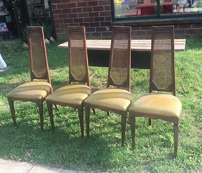 4 VTG MCM HIGH CANE BACK Padded DINING Wood CHAIR 1271 McDonald Ave Brooklyn NY