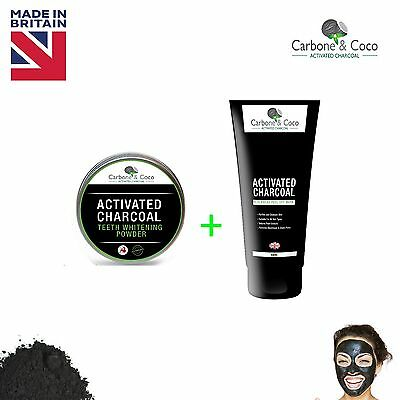 Carbone & Coco™ Activated Charcoal Blackhead Mask + Teeth Whitening Powder Deal