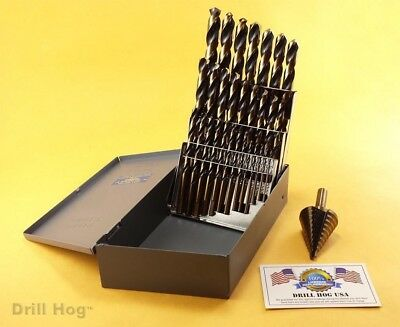Drill Hog USA 29 Pc HI-Molybdenum Drill Bit Set M7 Step Drill Lifetime Warranty