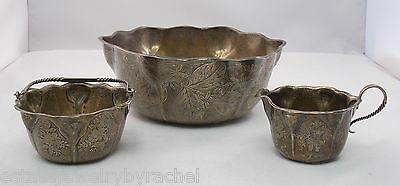 Scalloped Sterling Silver Whiting Floral Fruit Bowl w/ Creamer & Sugar Basket