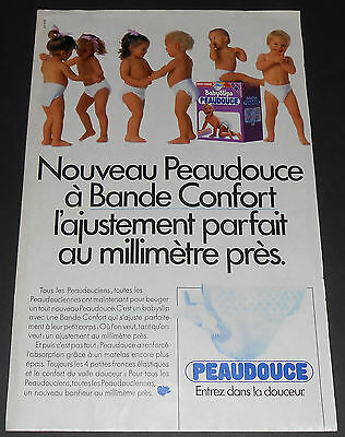 1986 vintage ad page - PEAUDOUCE DIAPERS COUCHES - FRANCE - 1-PAGE PRINT ADVERT