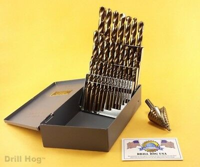 29 Pc Cobalt M42 Drill Bit Set 29 Pc Step Bit Drill Hog USA Lifetime Warranty