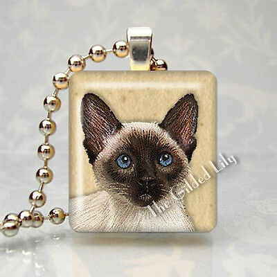 SIAMESE CAT KITTEN Altered Art Scrabble Tile Altered Art Pendant Jewelry Charm