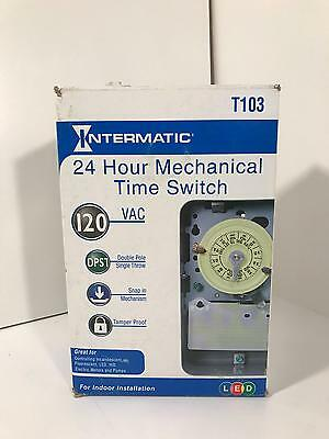 Intermatic T103 24 Hour Mechanical Time Switch 120 VAC LED Indoor Installation