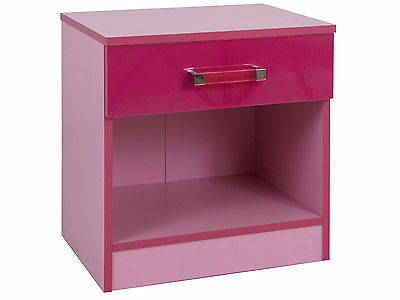 Pink Two Tone Ultra High Gloss Girls Bedroom Furniture Bedside Cabinet Draws