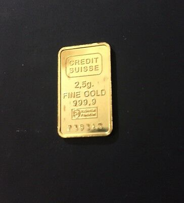 Credit Suisse 2.5 G Gold Bar 999.9 Fine Gold