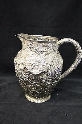 S. Kirk & Son Coin Silver Repousse Water Pitcher
