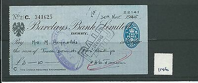 wbc. - CHEQUE - CH1146- USED -1945 - BARCLAYS BANK, DERBY