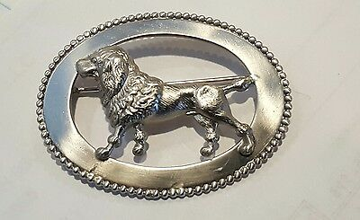 Portuguese water dog Silvertone pin brooch detailed