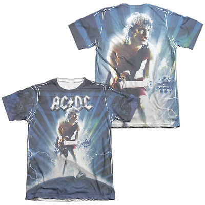 AC-DC ACDC Rock Band LIGHTNING 2-Sided All Over Print Poly Cotton T-Shirt
