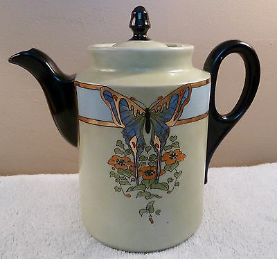 Stunning art deco celadon green tea or coffee pot, butterfly design, black trim