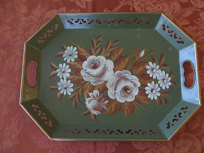 """Vintage ToleWare  Green Tray Hand Painted Flowers Gold and Cream 18"""" X 13"""""""