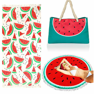 Watermelon Beach Picnic Round Towel Large Cotton Bath Holiday Blanket Travel Bag