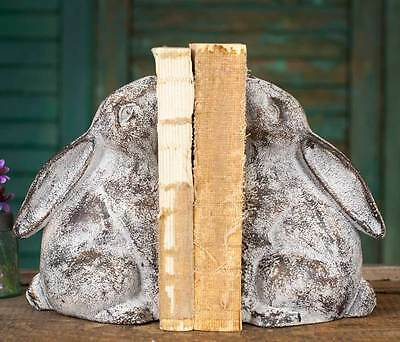 Vintage French Farmhouse Cottage Style Cast Iron Bunny Bookends Book Ends New