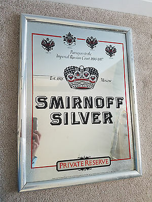 Smirnoff Silver Private Reserve Mirror Advertising Bar Sign - FREE SHIPPING