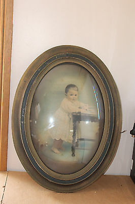 Vintage Oval Picture Frame & Bubble Glass With Picture Of Child