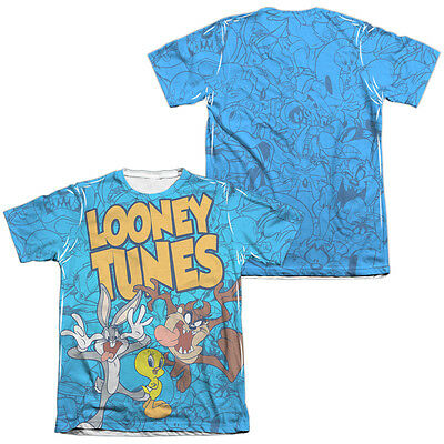 0d24e099 Looney Tunes Cartoon COLLAGE OF CHARACTERS 2-Sided Print Poly Cotton T-Shirt