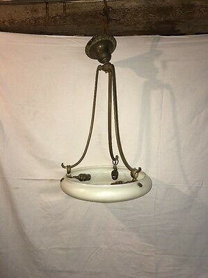 Antique Bradley & Hubbard Steuben glass shade chandelier