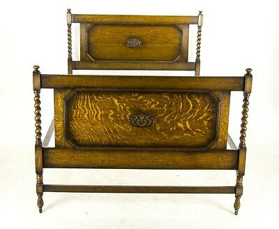 B669 Antique Tiger Oak Barley Twist Jacobean Revival Double Bed and Rails
