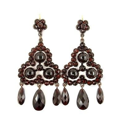 Gorgeous Vintage garnet triangle earrings w/14ct gold wires || ГРАНАТ #PK