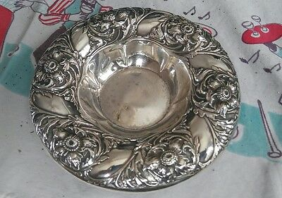 Antique Art Nouveau Gorham Repousse Sterling Silver Bowl Nut Dish A8003 WOW!