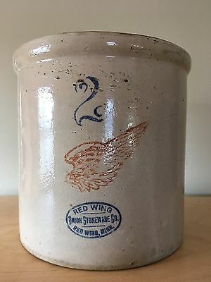 Antique Red Wing Stoneware No. 2 Crock