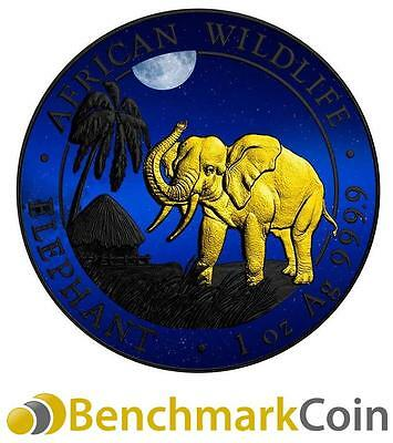 2017 African Night Somalia Elephant Silver Coin - Ruthenium + Gold Plating