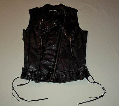 Womens Guess Gunmetal Gray Faux Leather Moto Motorcycle Vest Size Small