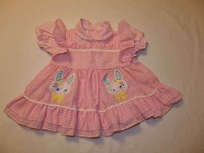 Vintage Baby Girl Pink Gingham Spring Bunny Easter Dress Size 6-9 Months