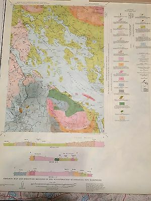 Geology Quadrangle New Hampshire Color Map Winnipesaukee Lake Vintage