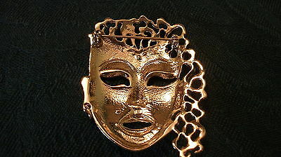Brooch Gold tone metal pin Asian Woman's Head Face Rhinestone Accents, unmarked