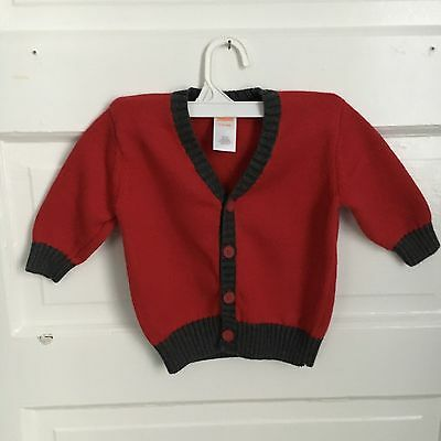 Gymboree- Boys Red & Gray Cardigan - Size 6-12 Months