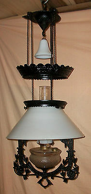 Antique Hanging Oil Lamp Adjustable Height