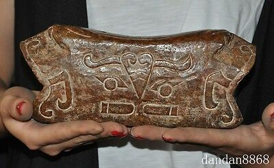 rare chinese Hongshan Culture old jade hand-carved beast patterns statue pillow