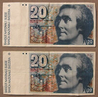 1989-87, (2) Switzerland 20 Francs Currency Note, VF+