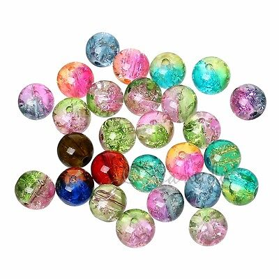 Mixed Colors Wholesale 8mm Round Crackle Glass Beads G5641 - 50, 100 Or 200PCs