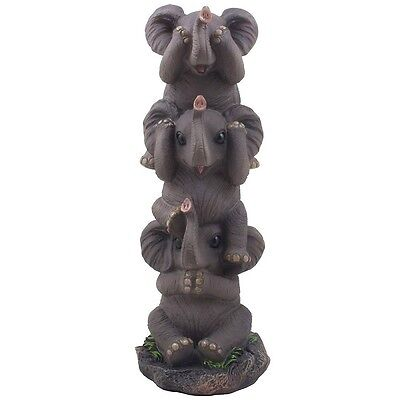 Elephants Figurine Sculptures Statues Resin No Evil Animal Lucky Gift Home Decor