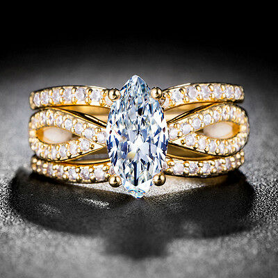 18k Yellow Gold Plated Marquise Cut White Sapphire 3pcs Wedding Ring Size 6-10