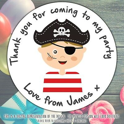 Personalised BOY PIRATE Birthday Party sweet cone gift bag sticker label seal