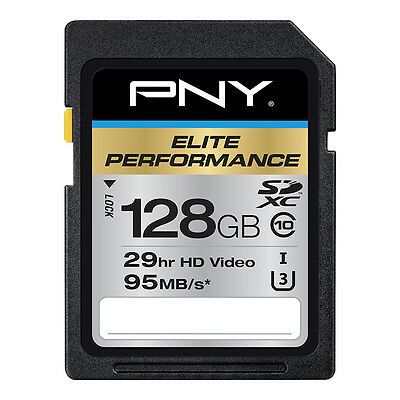 128GB PNY Elite Performance SDXC UHS-I Class 10 95MB/sec Memory Card