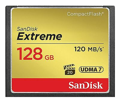 128GB Sandisk Extreme CompactFlash Memory Card (120MB/sec Read - 85MB/sec Write)